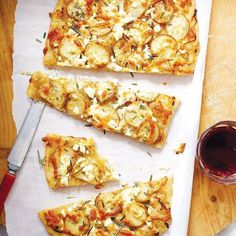 Potato pizza with caramelized onions and rosemary - a winning combo! Make without cheese for vegan.