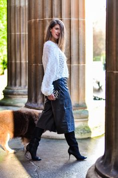 leather culottes and over knee boots