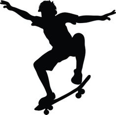 Skateboard Clipart Image: Skateboarder riding a skateboard and doing a trick