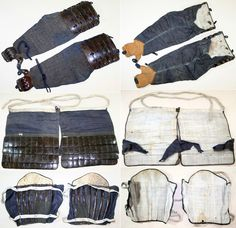 Antique samurai sangu (three armors of the extremities), kote (armored sleeves), haidate (thigh armor), suneate (shin armor).