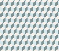cubist_bleu_M fabric by nadja_petremand on Spoonflower - custom fabric