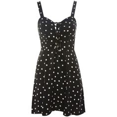 Topshop Shadow Spot Print Mini Dress (1.065 ARS) ❤ liked on Polyvore featuring dresses, strappy dress, polka dot mini dress, spotted dress, polka dot dress and strap dress