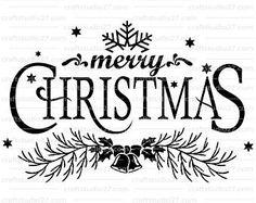Directe download mooie quote Merry Christmas met decoratie. SVG, PDF en meer voor Cameo, Cricut, Print en Raamtekening
