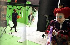 Tim and Helena playing with Nerf guns on the set of Alice in Wonderland