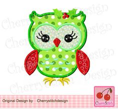 'Christmas Owl' Machine Embroidery Applique Design ........................................................................................................ by CherryStitchDesign   Etsy