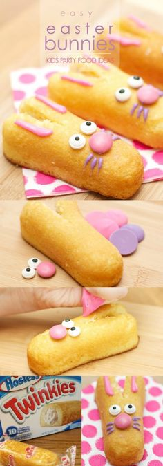 This adorable Easter Bunny dessert idea is perfect for a party - both kids and adults love them. I took them to a school party. Make them from Twinkies. Post has the FULL tutorial. SO EASY! via @spaceshipslb