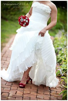 Wedding Day Red Shoes The Perfect Patent Heels With Gown Make A Fun