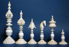 Antique Indian Chess Set. This is an example of a pattern called `Pepys`, the name is derived from a similar set supposedly owned by English diarist Samuel Pepys from the 17th century.
