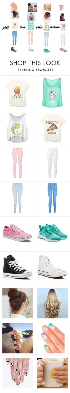 """""""best friends"""" by yidi-wang-725 ❤ liked on Polyvore featuring beauty, Wildfox, Maison Kitsuné, Frame Denim, New Look, Vans, NIKE, Converse, Pin Show and WigYouUp"""