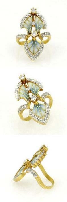 Masriera 18k Yellow Gold Diamond & Plique-à-jour Enamel Floral Design Ring.