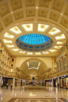 Golden Architecture , Villagio by Vinod Chauhan (shopping mall, Doha, Qatar) Dubai Architecture, Amazing Architecture, Asia, Qatar Doha, Aircraft Design, Old Building, Shopping Mall, Places To Travel, Taj Mahal