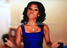 "Tara Wallace's bebe Blue Strap Bandage Dress on ""Love & Hip Hop New York"""