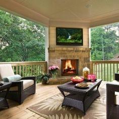 love the corner fireplace & TV!