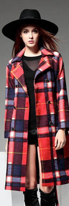 Red Double-breasted Plaid Trench Coat