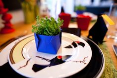 ***Our DIY portion of the table design: - Origami Crow (directions from the internet) including a post-it note in the bird's mouth ready to write the guest's name on. - Origami Vase/Bowl with Sedum from the yard (directions from the internet) - Fresh Perennials from the garden - Placemats 'Grass' Paper from Michaels Unique Settings, Table Settings, Crow, Earthy, Decorative Items, Perennials, Origami, Grass, Vibrant