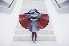Spring Childrens Coat Red Hoodie Baby Coat Grey by coolawoola Childrens Coats, Girls Cape, Pocket Handkerchief, Nachhaltiges Design, Cape Pattern, Baby Coat, Shape And Form, Coat Patterns, Red Hoodie