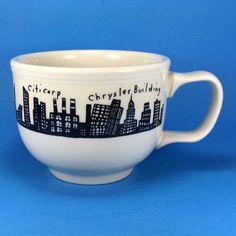 Homer Laughlin New York Skyline Jumbo Soup Mug Cityscape Black White Coffee Rare #HomerLaughlin