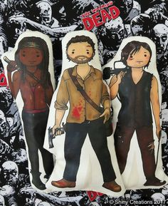 Set of 3- The Walking Dead inspired cartoon, cuddly, fabric, dolls, plushie, plush, collectible, TV show, comic book, characters - £25.00