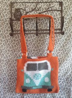 VW Bus Tapestry Crochet Tote Bag/ Ready to Ship/ One of a Kind