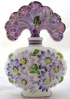 Fenton Art Glass White Satin Perfume Bottle Iridized Violet Stopper Mint | eBay