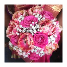 """267 Likes, 1 Comments - Thushi l Makeup Artist (@thushi_mua) on Instagram: """"Bridal bouquet ❤️ #flowers #my #work #rose #pink #roses #white #love #london #tamil"""""""