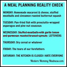 meal planning reality check, whole30 meme