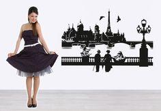Paris with Seine Wall sticker