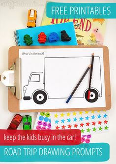 Free printables! Road trip drawing prompts. Great way to keep the kids entertained in the car.