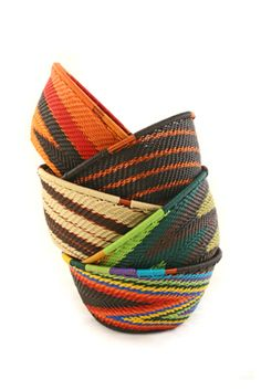 colorful baskets made from telephone wire...beautiful!