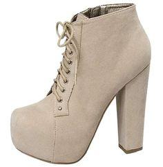BEIGE RETRO Lace Up Chunky Heel bootie High Heel Pump Shoe sz.7