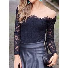 Trendy Long Sleeve Round Collar Mesh Splicing Women's Lace Blouse