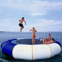 """40 Playful Pool Toys - From Fashionable Necklace Floaties to Aquatic Trampolines (CLUSTER) [ """"I want one of this and live near a lake! Trampolines, Jet Ski, Lake Toys, Water Trampoline, Cool Pool Floats, Myconos, Floating In Water, Floating Dock, Pool Toys"""