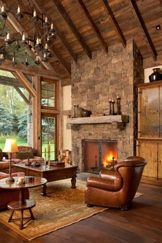 Cozy Rustic Living Room` Log Homes Log Cabin Homes Log . 23 Comfy And Natural Chalet Living Room Designs Interior God. Home and Family Rustic Fireplaces, Home Fireplace, Stone Fireplaces, Fireplace Ideas, Mantel Ideas, Rustic Mantle, Rustic Wood, Rustic Sunroom, Tiled Fireplace