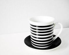 Vintage striped cup with saucer