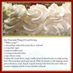 Whipped vanilla icing recipe easy by bonnie Easy Homemade Whipped Cream Frosting This is so delicious. It won't melt at room temperature like regular whipped cream. It's very stable. It's wonderful used for frosting a cake or even dipping fruit in it! Cupcake Creme, Food Cakes, Cupcake Cakes, Vanilla Icing Recipe, Butter Cream Icing Recipe, Cake Recipes, Dessert Recipes, Icing Recipes, Coconut Recipes