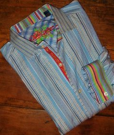 Robert Graham Mens Blue & White 2XL Pleated Stripe LS Shirt Contrast Cuffs #RobertGraham #ButtonFront