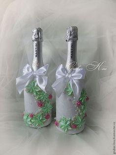"""Купить Свадебный набор """"Джульетта""""в салатовом. - салатовый, розовый, белый, свадебные аксессуары, свадебные бокалы"""
