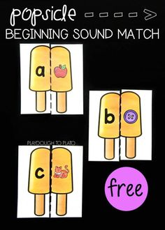 Free Literacy Game: Popsicle Beginning Sound Match! A fun, summery way for kids to work on beginning sounds! The perfect activity for kindergarten or preschool literacy centers this spring or summer. Preschool Literacy, Alphabet Activities, Kindergarten Activities, Work Activities, Kindergarten Centers, Teaching Kindergarten, Teaching Resources, Beginning Sounds Kindergarten, Letter Sound Games