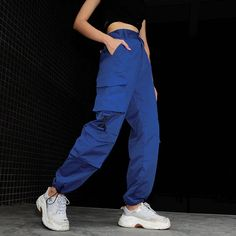 Blue Cargo Loose Pockets Pants iawear - Men Cargo Pants - Ideas of Men Cargo Pants Blue Cargo Pants, Cargo Pants Women, Purple Pants, Camo Pants, Pants For Women, Clothes For Women, Mens Cargo, Jogger Pants, Style Streetwear