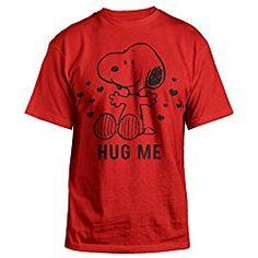 Peanuts Snoopy Valentines Day Hug Me Mens Red T-shirt L