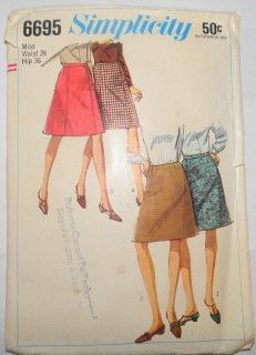Simplicity 6695 Vintage Sewing Pattern Ladies Skirt #1960s #ladies #simplicity #skirt #vintage #patterns #sewing #retro #vintagestitching