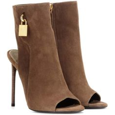Tom Ford Embellished Suede Ankle Boots ($1,535) ❤ liked on Polyvore featuring shoes, boots, ankle booties, heels, ankle bootie, brown, short boots, short brown boots, brown ankle boots and suede booties