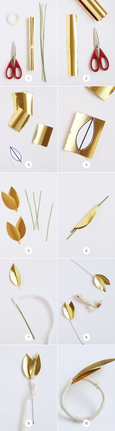 DIY Brass Leaf Napkin Ring on Julep / http://www.minted.com/julep/2014/03/24/diy-brass-leaf-napkin-ring/