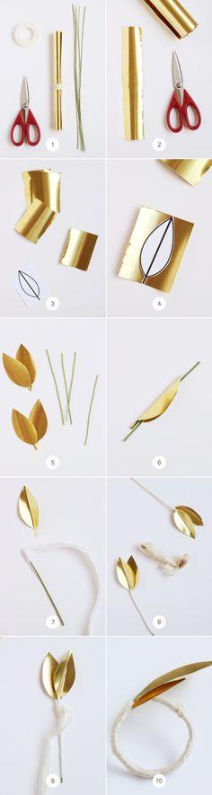 DIY Brass Leaf Napkin Ring on Julep / http://www.minted.com/julep/2014/03/24/diy-brass-leaf-napkin-ring/
