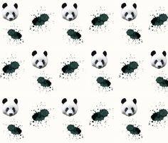 animals-real-panda-splash-offwhite fabric by the_magic_elephant on Spoonflower - custom fabric