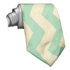 Vintage Retro Style MintGreen Cream Zigzag Chevron Neck Ties
