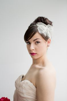 lace headband + pink lips // photo by Samantha Cabrera // View more: http://ruffledblog.com/hot-pink-wedding-inspiration/