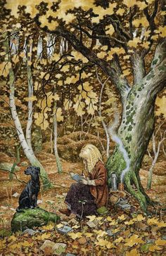 """In the Word Wood,"" a painting of Terri Windling and dog Tilly in the woods behind Terri's studio,  autumn 2011, by her friend and neighbor, artist David Wyatt."