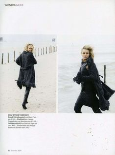 Winter Beach Editorials: Model Veza Throws on Layers and Hits the Beach for Wienerin Magazine