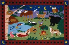 "Olive Kids CampFire Friends Kids Rug Size: 1'7"" x 2'5"" by Fun Rugs"